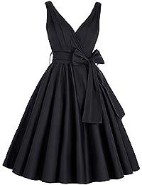 GRACE KARIN 50s vestido Rockabilly Vintage V escote Vestido de Cóctel Vestido de Cinturón