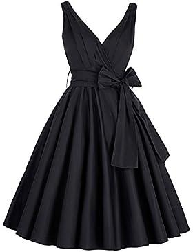 Grace Karin Damen Vintage Rockabilly Kleid Ärmellos Sommerkleid Partykleid Cocktailkleid MY8955