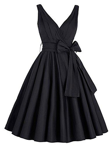 negro vestido de rockabilly señoras 1950 vestidos vestido retro vintage hasta la rodilla vestido de oscilación XS CL8955-1