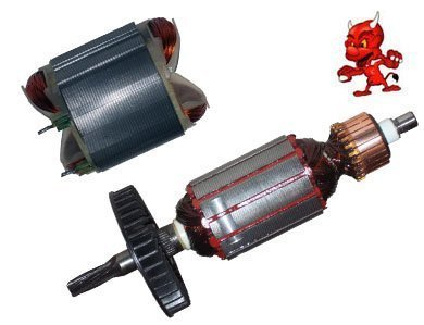 Preisvergleich Produktbild 1 Set Anker Rotor Kollektor Läufer mit sechs Zahnwelle + Polschuh Feld Stator passend für Bosch GBH 2-24 DFR