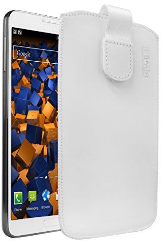 mumbi ECHT Ledertasche für Samsung Galaxy Note 3/Note 3 Neo Tasche Leder Etui (Lasche mit Rückzugfunktion Ausziehhilfe) weiss