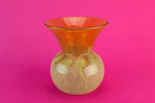 Vasart Yellow Orange Glass Vase Scottish Medium Speckled Vintage 1960s