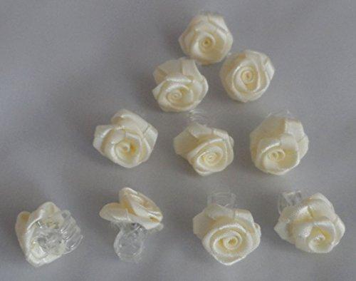 10 Rosen creme/champagner , Klemmen, Haarschmuck, Kopfschmuck, Hochzeit, Kommunion, Blumenkinder... (champagner/creme)