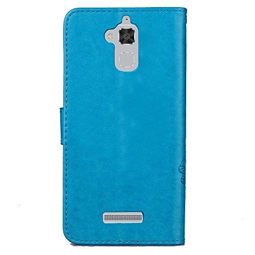 Double Magnetic Back Sucktion Retro Style PU Leder Flip Stand Case mit Kickstand und Wallet Beutel Funktion für Asus ZenFone 3 Max ZC520TL ( Color : Gray ) Blue