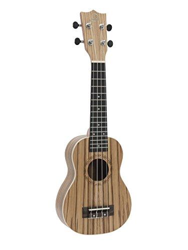 Set aus 2 x Sopran Ukulelen UGWAI aus Zebrawood, hellbraun mit Streifenoptik - 4-saitige Hawaiigitarre / kleine Gitarre aus Zebraholz - klangbeisser
