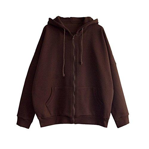 Xuanku Weiblicher Schüler Windjacke Mantel Harajuku Zip Kapuzenjacke Kaschmir Pullover Plus, M, Schokolade (Wildleder)