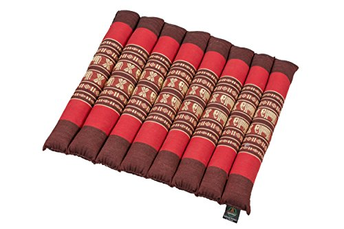 Cojín enrollable 38x40 cm, con relleno de kapok (rojo con elefantes)