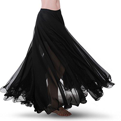 (ROYAL SMELA Bauchtanz Rock ATS Voile Maxi Voll Stammes die Röcke Chiffon Tanzkleid für Frauen Trainingskleidung 720 Grad Großer Swing-Rock Bauchtanz-Outfit)
