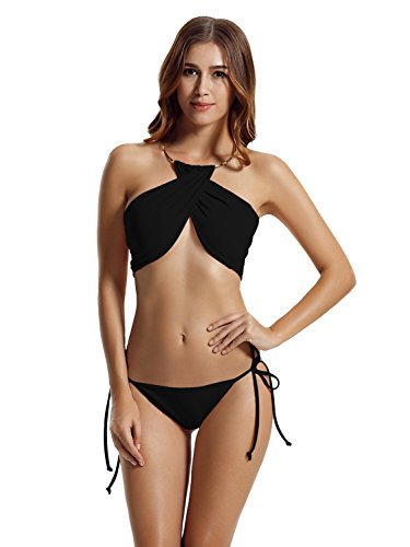 Zeraca Damen Hohe Hals Abgesperrte Krawatte Seite Bikini Badeanzüge L Schwarz (Krawatte Bikini Seite Retro)