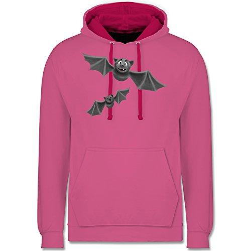 Halloween - süße Fledermäuse - M - Rosa/Fuchsia - JH003 - Unisex Damen & Herren Kontrast Hoodie