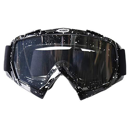 Gnzoe PC Motorradbrillen Sportbrille für Motorrad Fahrrad Helmkompatible/Schwarz Weiß Transparent