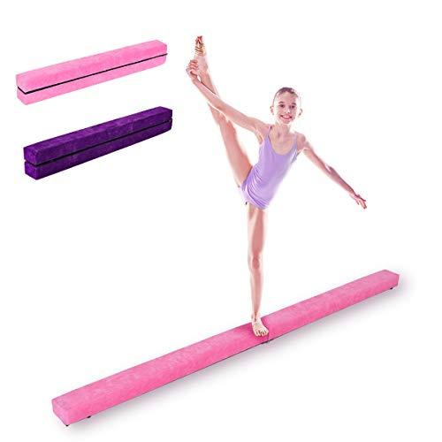 DREAMADE Schwebebaklen Kinder, Schwebebalken klappbar Balance Beam, Gymnastikbalken Übungsbalken, Balance Balken, Schwebebalken für Turnen Kinder, Holz, 210 x 10 x 6.5cm (Pink)