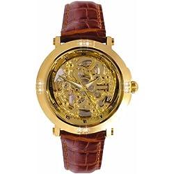 Sekonda 1101.27 Mens Leather Strap Quartz Skeleton Watch