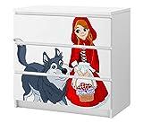 Set Möbelaufkleber für Ikea Kommode MALM 3 Fächer/Schubladen Kinderzimmer Cartoon Rotkäppchen Wolf Mädchen Kat2 Märchen ML3 Aufkleber Möbelfolie sticker (Ohne Möbel) Folie 25C2633