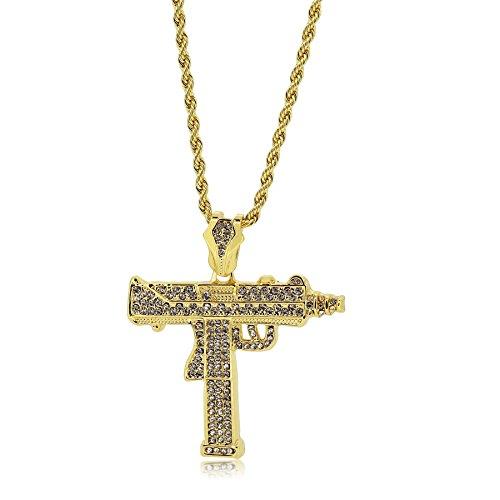 Bling King placcato oro cristallo Uzi fucile Mitragliatore ciondolo con taglio a diamante, catena hip hop collana