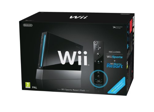 Nintendo Wii (Black) with Wii Sports + Wii Sports Resort: Includes Wii Remote Plus [Edizione: Regno Unito]