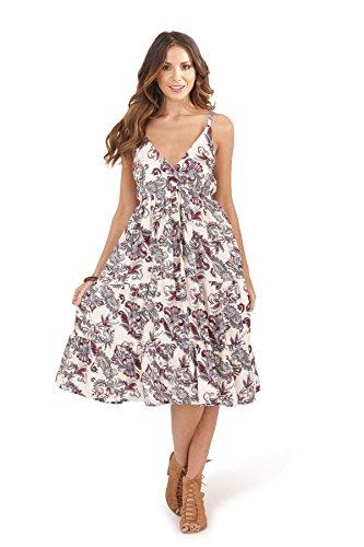 Damen Pistachio Blumenmuster Oder Aztekenmuster Midi Damen Baumwolle Trägerkleid Weiß