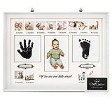RIZON Baby Handabdruck und Fussabdruck Set, Fotoalbum Baby Bilderrahmen Andenken Box für Neugeborene - Babyparty Geschenk, Mutter Geschenke - 12 Monate Fotos