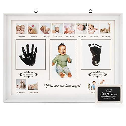 RIZON Baby Handabdruck und Fussabdruck Set, Fotoalbum Baby Bilderrahmen Andenken Box für Neugeborene - Babyparty Geschenk, Mutter Geschenke - 12 Monate Fotos (Aufnahme-foto-rahmen)
