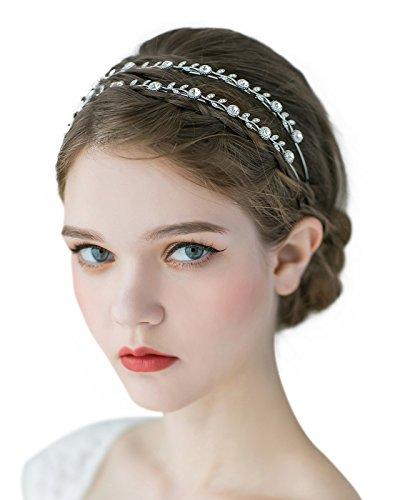SWEETV Kristall Stirnbänder Blatt Kristall Braut Haarbänder Tiara Kopfschmuck Kopfkleid für Frauen, Doppel Band Silber