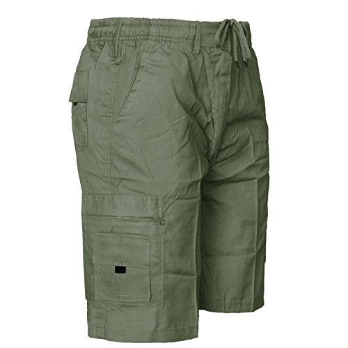 MENS ELASTICATED WAIST SHORTS CARGO COMBAT 6 POCKETS SUMMER BEACH COTTON PANTS[Olive ,L]