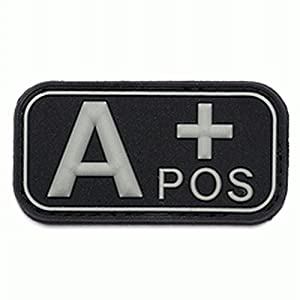 Patch 3D PVC Groupe Sanguin A+ Positif Noir / Cosplay / Airsoft / Camouflage
