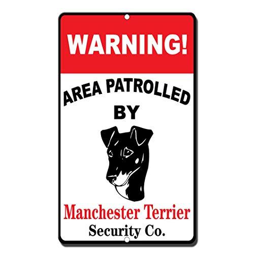 Moonluna Warning Area Patroll by Manchester Terrier Metallschild für Garage, Wanddekoration, Blechschild, 20,3 x 30,5 cm -