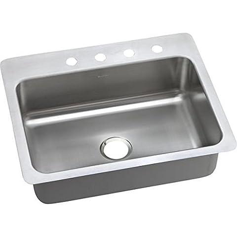 Elkay DSESR127221 Dayton Elite 20 Gauge Stainless Steel Single Bowl Dual/Universal Mount Kitchen Sink, 27 x 22 x 8.0625 by Elkay