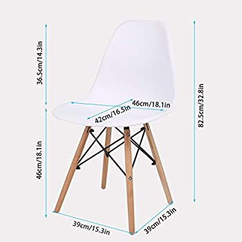 joolihome Round Dining Table and Chair Set of 4, Coffee Table with Wood Leg for Dining Room Living Room Kitchen (Glass Table+4*Chairs)