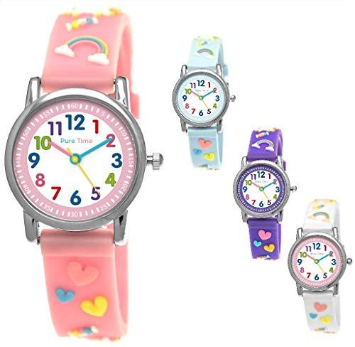 Pure Time® Einhorn Unicorn Kinder-Uhr Mädchen-Uhr Kinder Armband-Uhr Pferd Pony Tier Silikon Armband Mädchen Uhr Kinderuhr Weiß Rosa Lila Türkis Gelb Sport-Uhr Lern-Uhr Schul-Uhr 3D (Rosa - Pink)