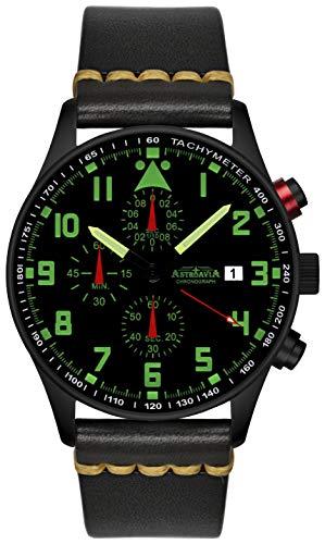 Astroavia Herren-Armbanduhr Chronograph Quarz mit Leder Armband schwarz N34 Black L8