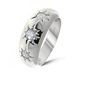 Beautiful 18 ct White Gold Gents Fancy Diamond Ring Brilliant Cut 0.75 Carat H-I1 - 8 Grams Size Q