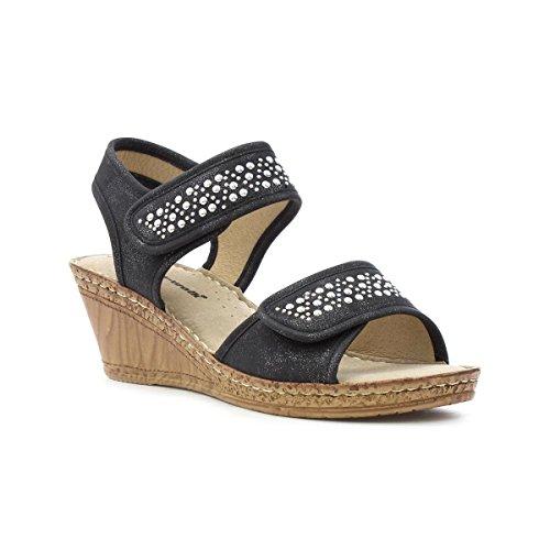 392b4626baa Cushion Walk Womens Black Wedge Comfort Sandal - Size 7 UK -.