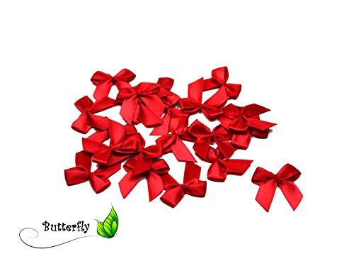 20 Stück Satinschleifen 2,5x3cm (rot 250)//Deko Schleifen für Hochzeit Taufe Kommunion Applikation Streudeko einfarbig