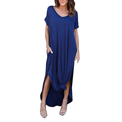Kostüm Stretch Neckholder - VEMOW Damenmode Tasche Lose Kleid Damen Rundhalsausschnitt beiläufige Tägliche Lange Tops Kleid Plus Größe(Z3-Blau, EU-48/CN-XL)