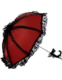 Topwedding ombrelle de mariage orne des blanches dentelles et plissages,rouge et noir