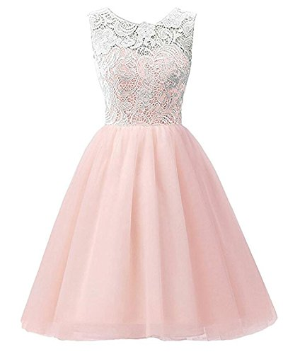 MISSMAO Brautjungfern Kleid Mädchen Kinder Kleider Festlich Prinzessin Hochzeit Party Kleid Spitze Spleiß Chiffon Festzug Rosa 120CM
