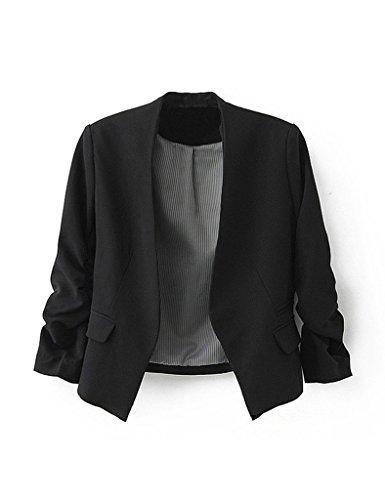 Bestgift Damen Reverskragen Anzug Business Freizeit Party Jacke Mode Anzug Schwarz L/EUR38