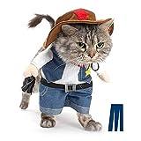 Agumx_outdoor-Kostüm für Hunde und Katzen, Cowboy für Partys, Weihnachten, Besondere Veranstaltungen, Kostüm, West-Cowboy-Uniform mit Hut, lustiges Haustier-Cowboy-Kostüm für Hunde und Katzen