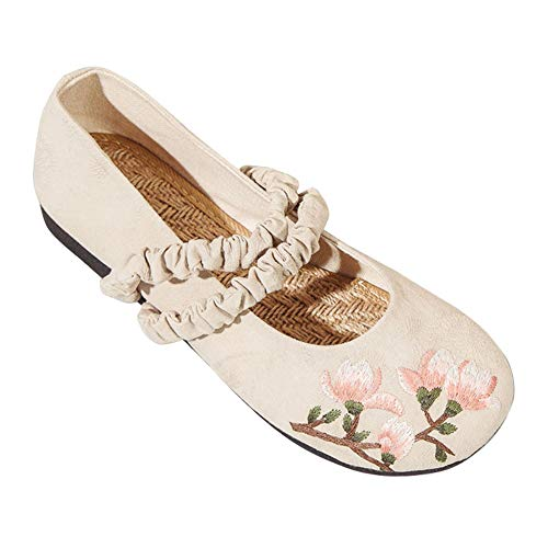 Der Bilder Alten Lady Kostüm - Yiliankeji Women Traditional Footwear Chinese Shoes - Round Toe Dancing Embroidery Flats Walking Retro Pumps Komfort