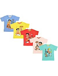 Chhota Bheem Baby Boy's Cotton Half Sleeve Tshirt - Pack of 5