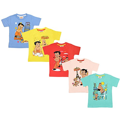 Chhota Bheem Baby Boy's Cotton Luke and Lilly Printed Round Neck T-Shirt(Skyblue, LNLCH087_0-3) - Pack of 5