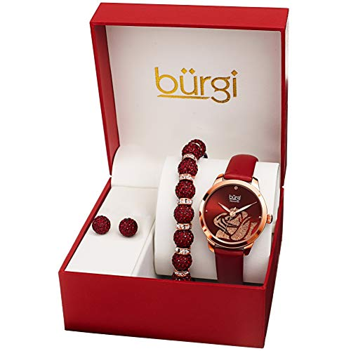 Burgi BUR244 Ladies Gift Set Stylish Accented Rose Cut-Out Watch Leather...