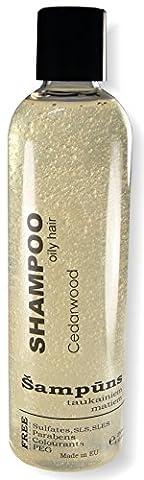 Shampoing bio pour cheveux gras avec bois de cèdre, DE L'Aloe Vera et de vitamine B. huiles essentielles (200ml)–Sulfate gratuit–volumisant et hydratant. pour homme et femme.