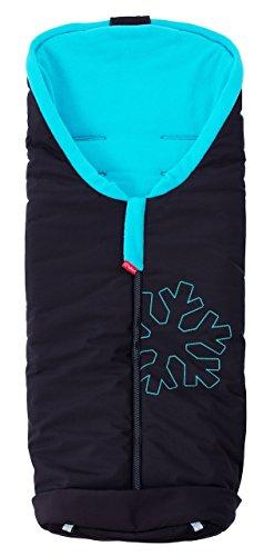ByBoom® Softshell Winterfußsack Thermo Aktiv für Kinderwagen und Buggy, Farbe:Schwarz/Aqua