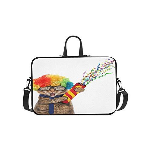 Lustiger Katze-tragender Kostüm-Clown, der Aktenkoffer-Laptoptasche-Kurier-Schulter-Arbeitstasche Crossbody-Handtasche für das Geschäftsreisen hält