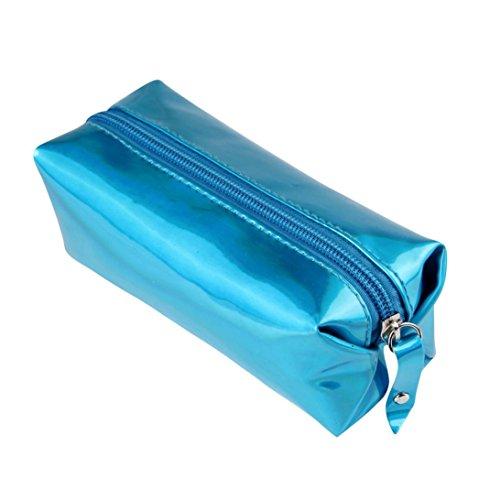 12shage Hologramm Bleistifttasche Stifthalter Makeup Reißverschluss Aufbewahrungsbeutel (Blau)
