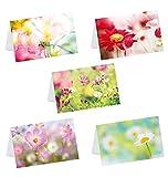 Kibano 10er Set hochwertige Grußkarten mit Blumen | Geburtstagskarten mit 5 Motiven + weiße Briefumschläge (Design No.1)