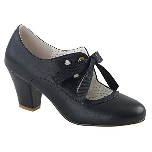 Pinup Couture Women's Wiggle-32 Pump, Blk Faux Leather