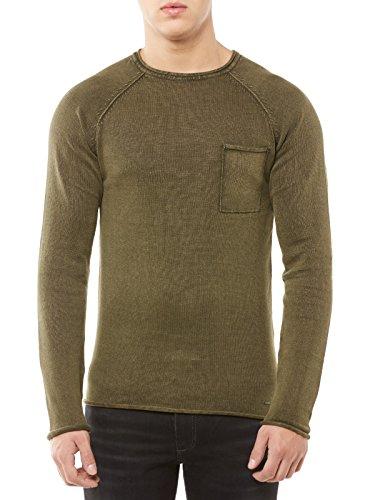 SOLID Pullover Herren Strickpullover Acid-Washed Crew-Neck Vintage Rundhalskragen XL grün (Crewneck Pullover Solid)